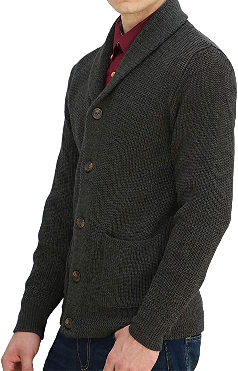 sourcing map Men Shawl Collar Front Pockets Single Breasted Long Sleeves Cardigan