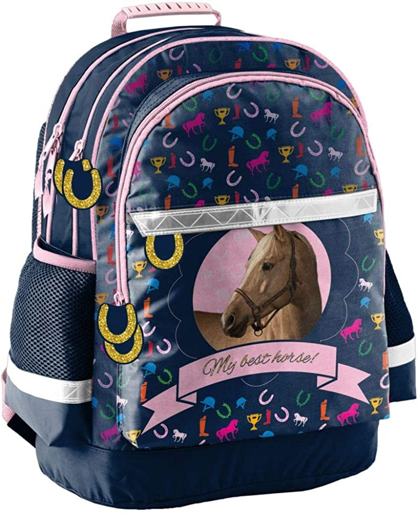 Mochila infantil (42 x 29 x 17 cm), diseño de caballo, color azul, rosa y multicolor