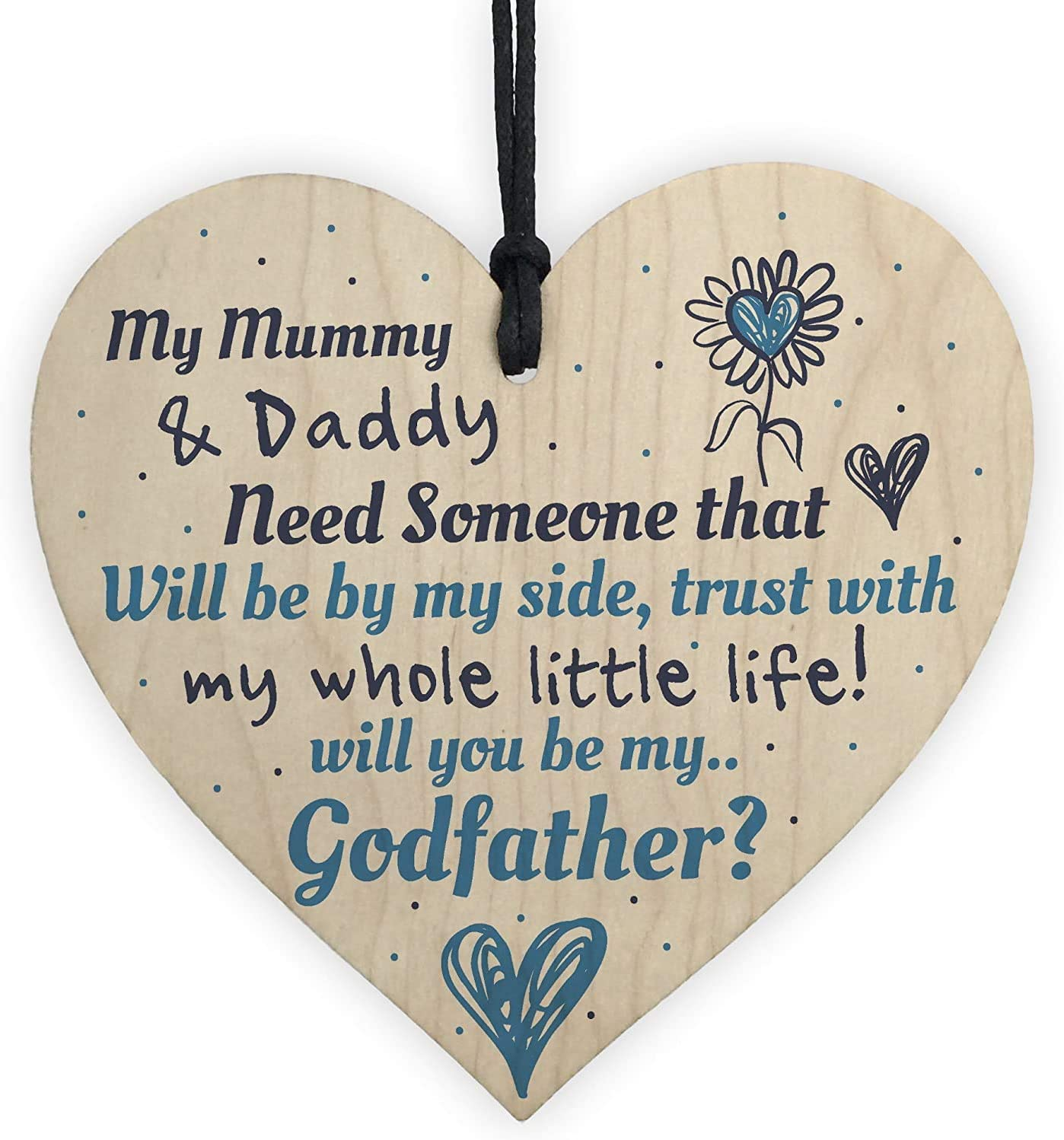Dadaly Decor Godfather Signs Godfather Proposal Signs Will You Be My Godfather Hanging Wood Plaque 4 x 4 inch Baptism Gifts.