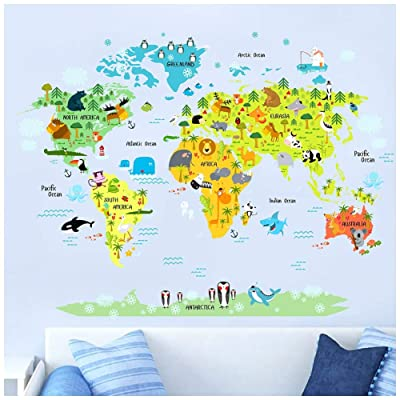 HaokHome W-10501-1 Large World Map Wall Stickers for Kids Educational Animal Landmarks Peel and Stick Wall Decals Home Decor Art for Nursery: Home Improvement