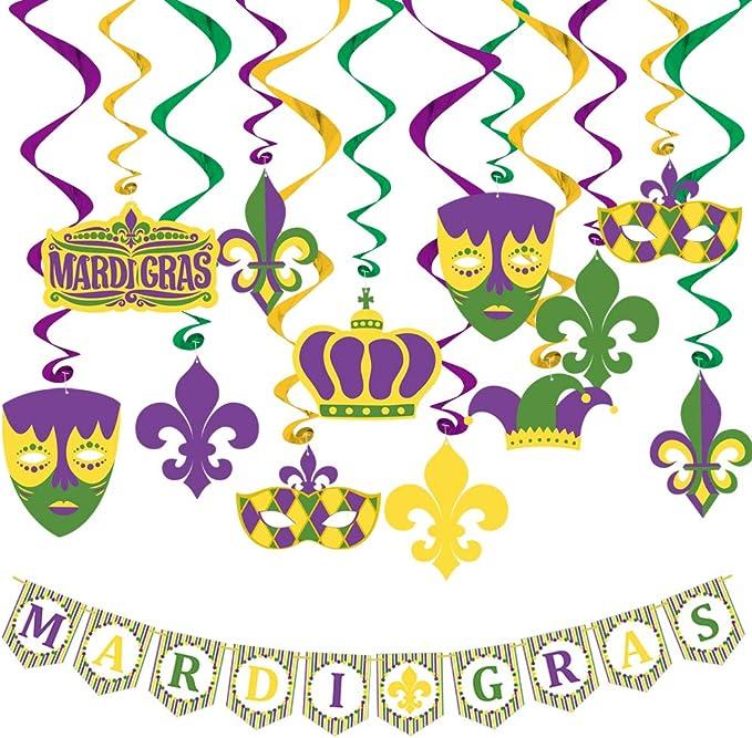 Mardi Gras Swirls Carnival Birthday Party Spirals Home Ceiling Wall Decor for Mexican Fiesta Crown Face Garland Favor Supplies Decor 30Pack Konsait Mardi Gras Hanging Swirl Decoration