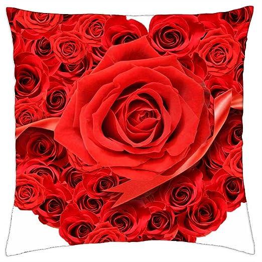 Corazón de rosas - Funda de cojín (18: Amazon.es: Hogar