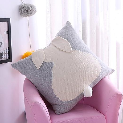Cute Conejo tejer algodón funda de almohada coche sofá cama ...