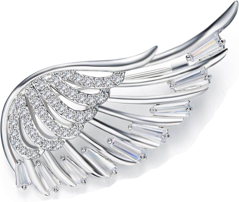 Epinki Shiny Women Brooch Wing Shape Bling Brooch Pin Brooch Wedding Jewelry with White Cubic Zirconia