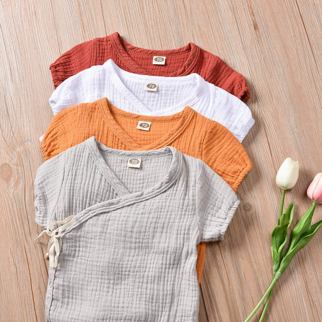 9-12 Months Toddler Baby Girl Boy Outfits Solid Color Romper Short Sleeve Playsuit Side Snap Baby Toddler Baby Newborn Kids Clothing Orange