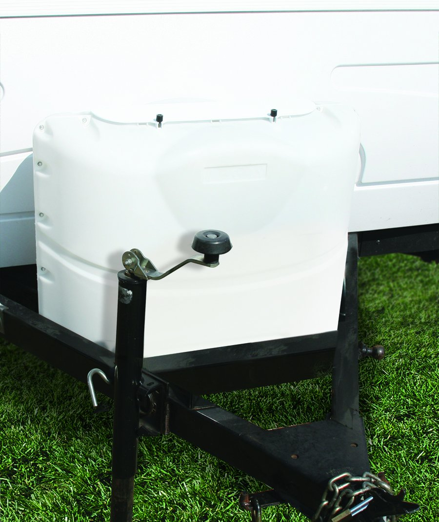 Camco  Heavy-Duty 20lb Propane Tank Cover Protector- Protect Popane Tank from Flying Debris, Provides Easier Access to Gas Valves (Polar White) (40523) by Camco