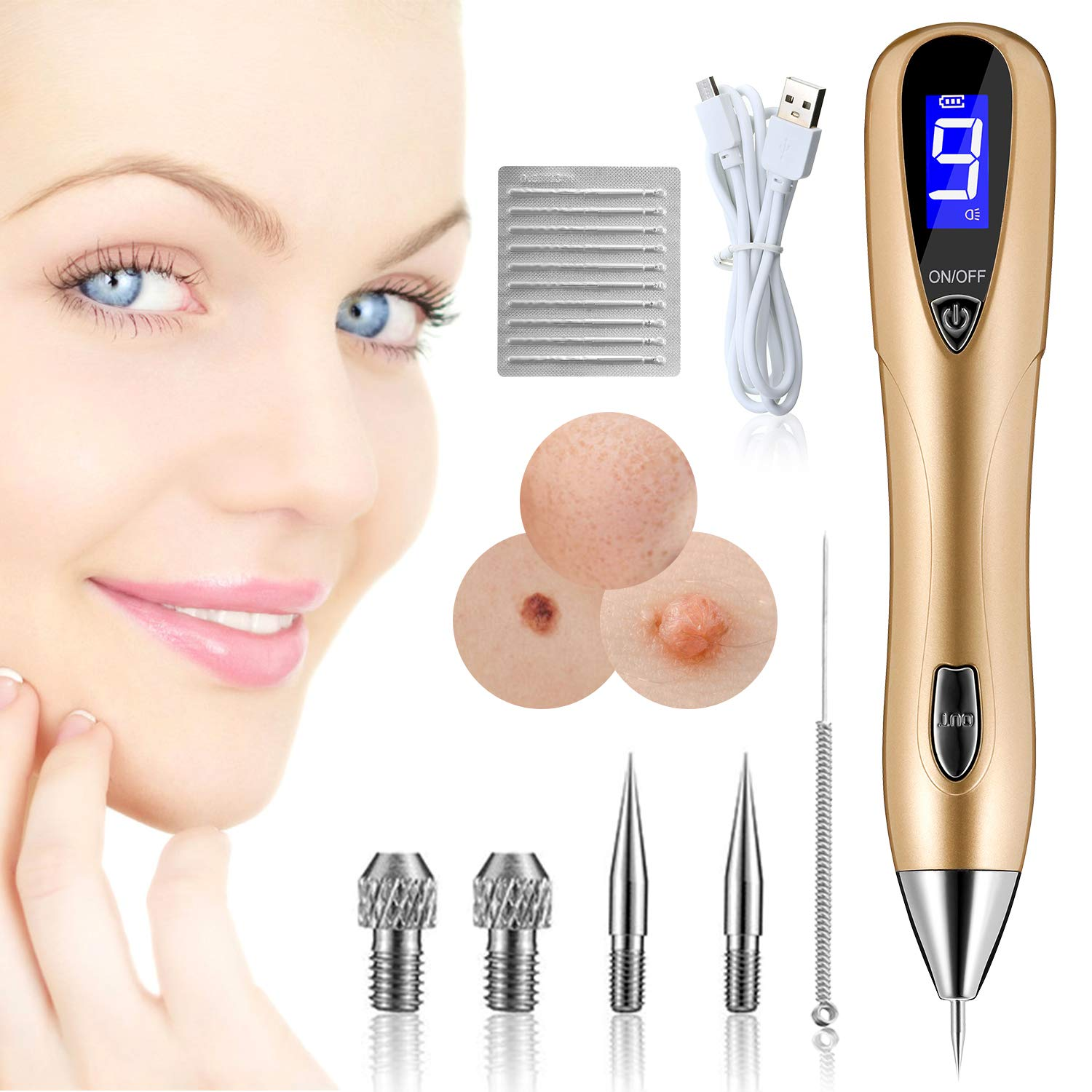SGGI 9 Speed Adjustable Professional Freckle Tattoo Beauty Equipment Home LCD Screen USB Charging with 12 Replaceable Needles