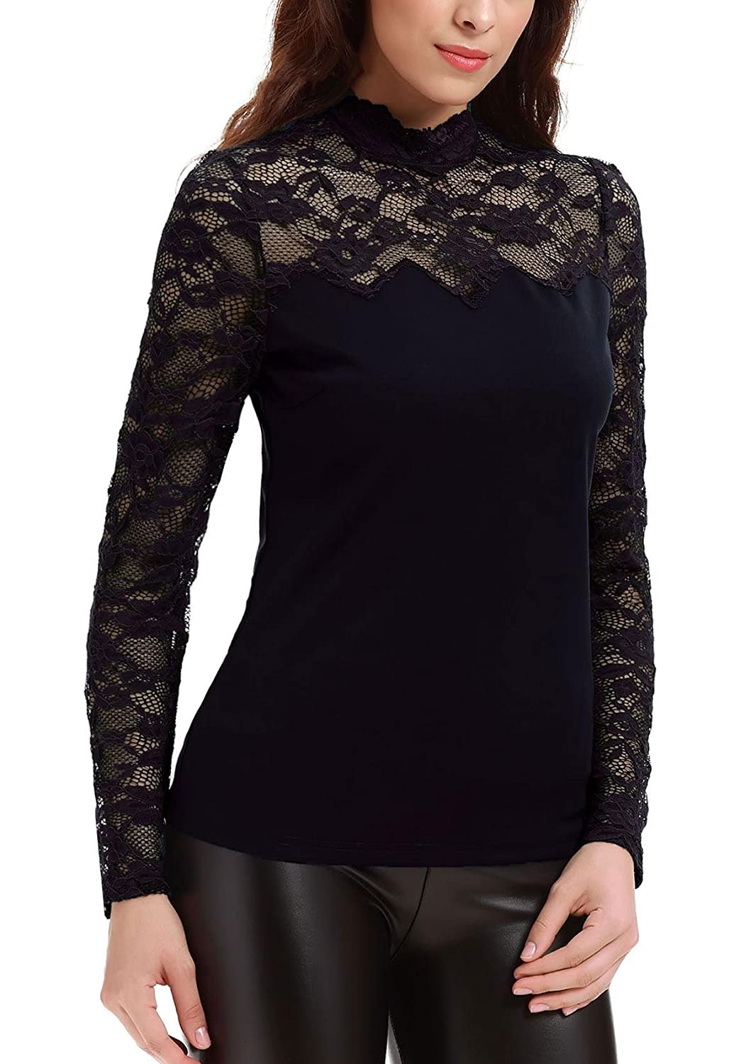 Yulee Women's Turtleneck Long Sleeve Lace Insert Blouse Pullover Top Shirt:  Amazon.co.uk: Clothing