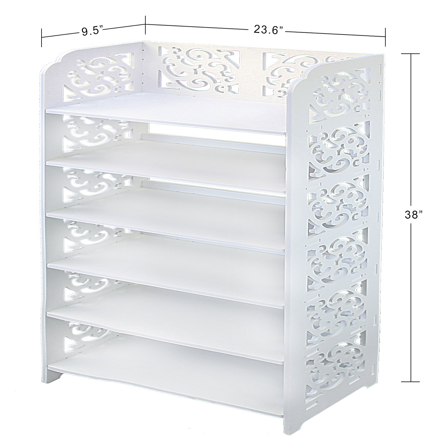 DL furniture - WPC Multipurpose Shoe Rack & Book Shelf L23.5'' x W9.5'' x H38'' 6 Tier Tall & Wide, Environmental Friendly Material | White… by DL furniture (Image #4)