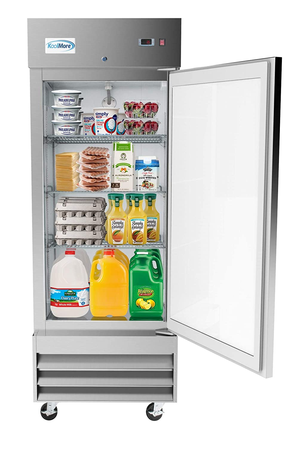 "KoolMore 29"" Stainless Steel Solid Door Commercial Reach-in Refrigerator Cooler - 19 cu. ft"