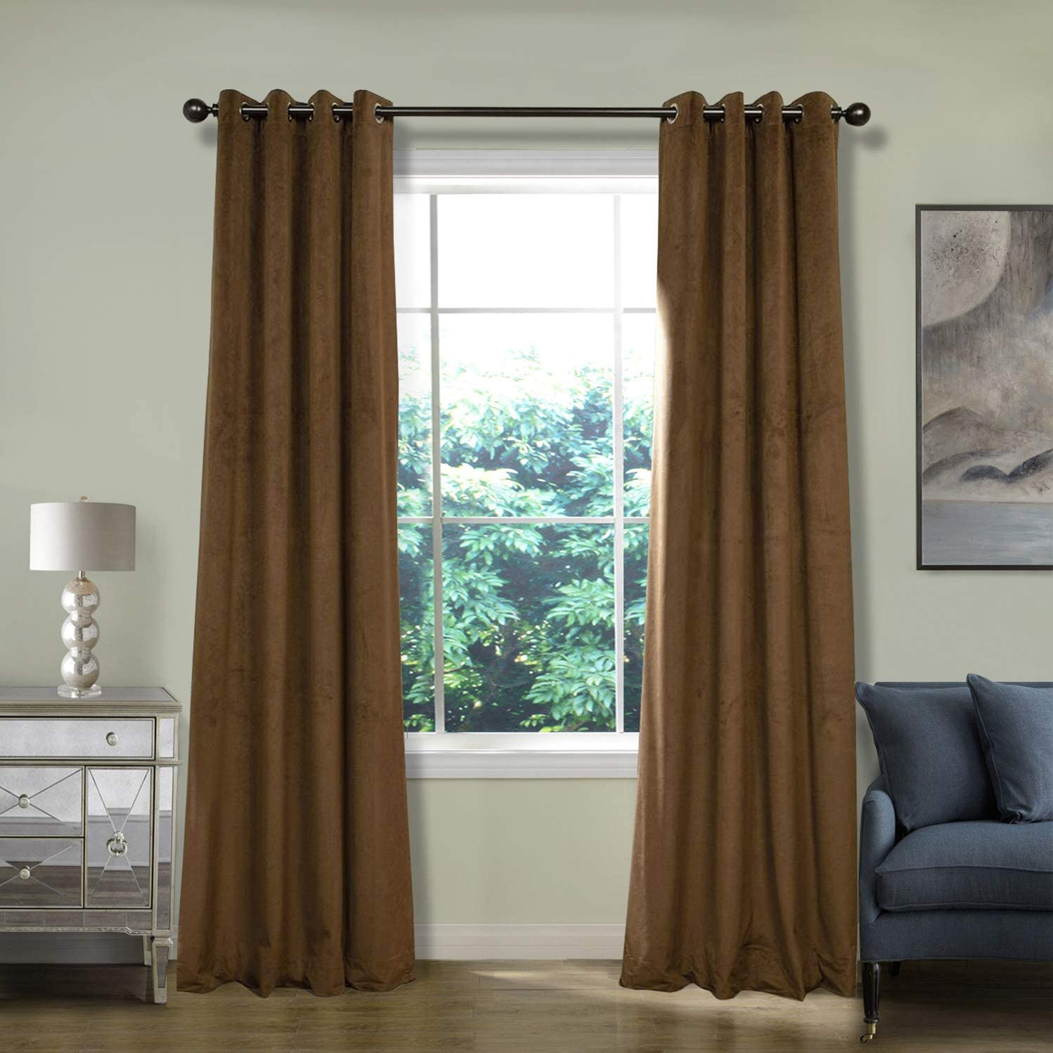 ChadMade Extra Wide Blackout Lined Premium Velvet Curtain Sable 120Wx84L Inch 1 Panel , Eyelet Grommet for Livingroom Bedroom Theater Studio, Birkin Collection