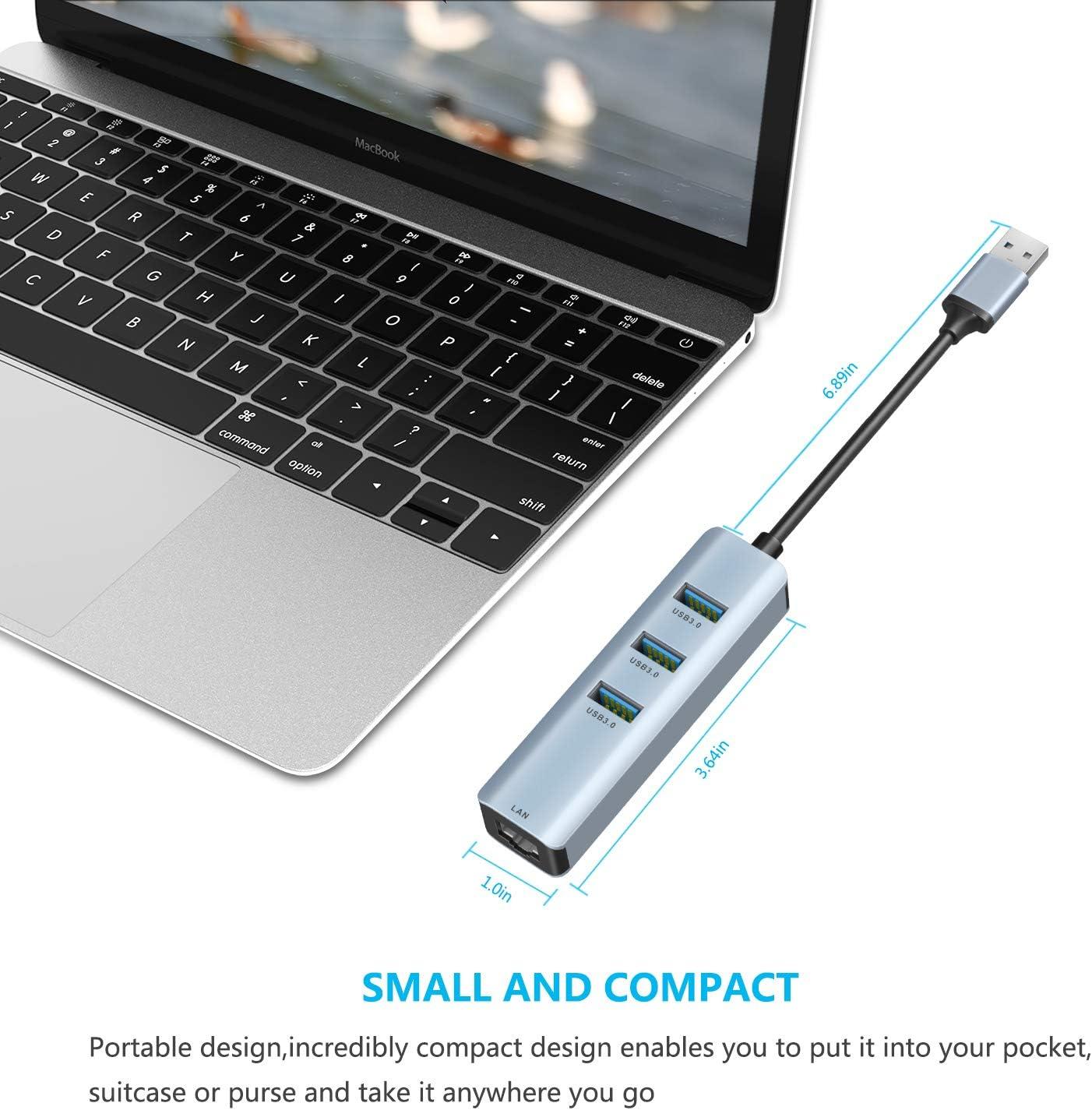 ABLEWE Hub USB 3.0 Ethernet Adaptador,USB 3.0 4 Puertos de Datos Aluminio USB Data Hub Tarjeta Red LAN RJ45 Gigabit Network para MacBook Pro XPS,etc Surface Pro iMac