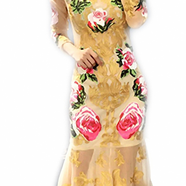 Venetia Morton Fashion Summer Runway Designer Dress Women Long Sleeve Noble Tulle Gold Line Floral Embroidery Sequins Mermaid Dress Multi L