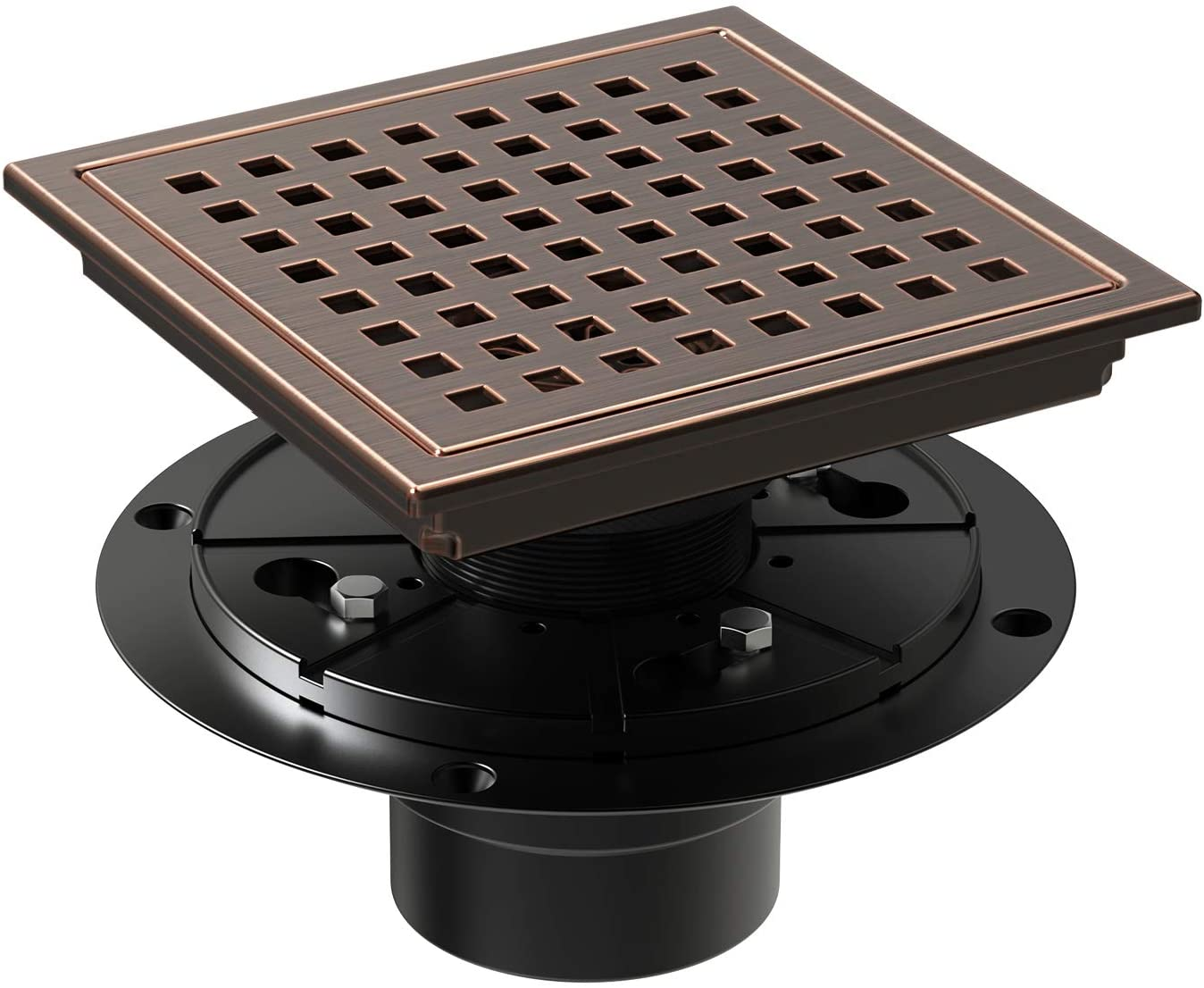 WEBANG 6 Inch Square Shower Floor Drain With Flange,Quadrato Pattern Grate Removable,Food-grade SUS 304 Stainless Steel,WATERMARK&CUPC Certified,Brushed Red Bronze Antique Copper