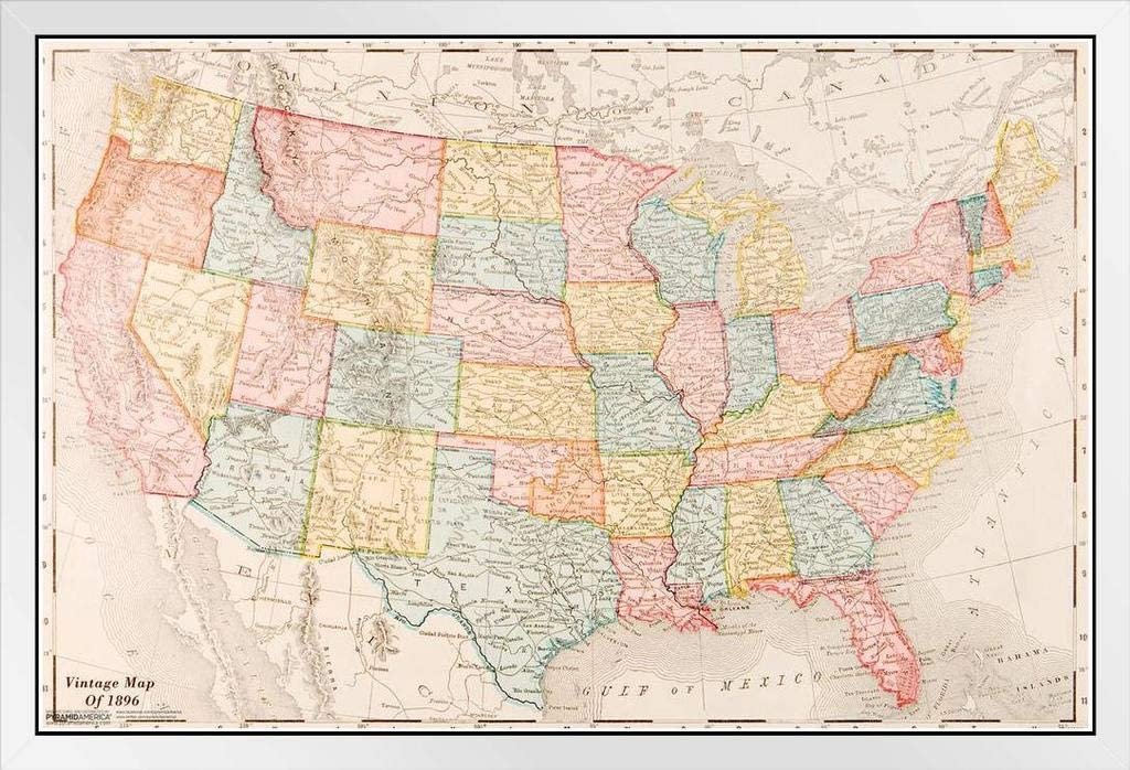 MAP OF USA FROM 1896 VINTAGE 24x36 poster OLD BRAND NEW NEVER HUNG AMERICA
