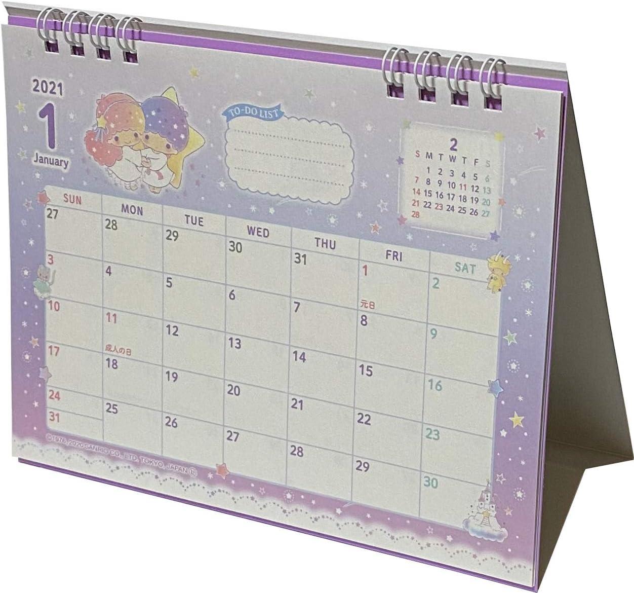 Sanrio Little Twin Stars Desk Ring Japanese Calendar 2021 Year 12 Month Japan
