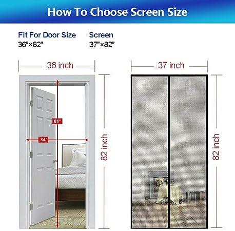 MAGZO Magnetic Screen Door 36 x 82 Reinforced Fiberglass Mesh Curtain Front Door