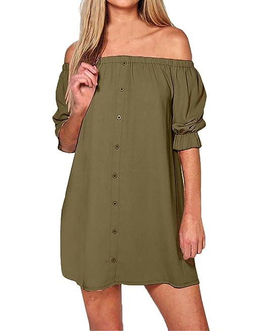 6200884690b Style Dome Womens Summer Dresses Mini Dress Off The Shoulder Tops Dresses  for Women T Shirt Dress: Amazon.co.uk: Clothing