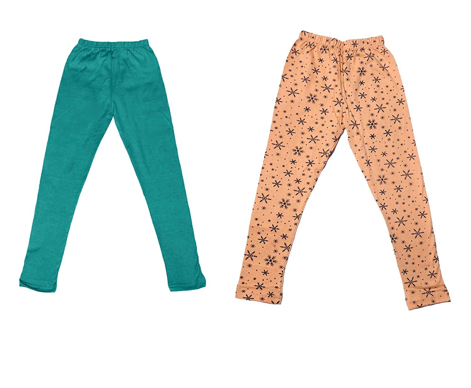Indistar Girls 1 Cotton Solid Legging Pants Pack Of 2 and 1 Cotton Printed Legging Pants /_Multicolor/_Size-11-12 Years/_7141519-IW-P2-34