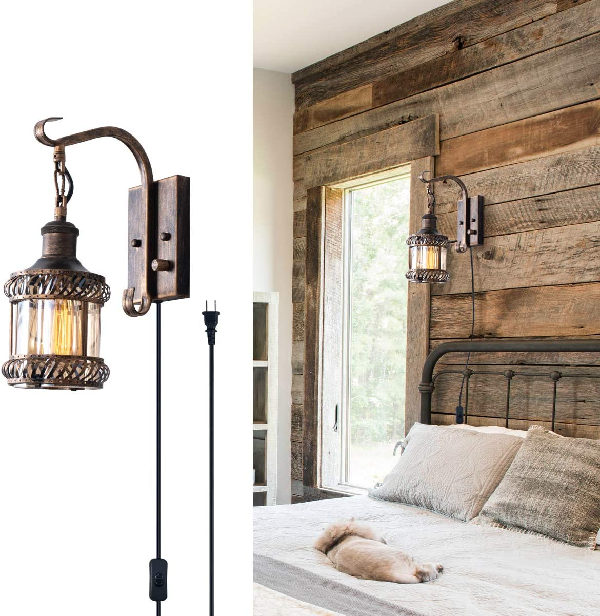 Retro Wall Light Fixtures, 2-in-1 Antique Bronze Vintage Wall Lighting Hardwired Plug in Industrial Lantern Retro Lamp Metal Wall Sconce for Bedside Bedroom Home Dining Room(1 Pack)