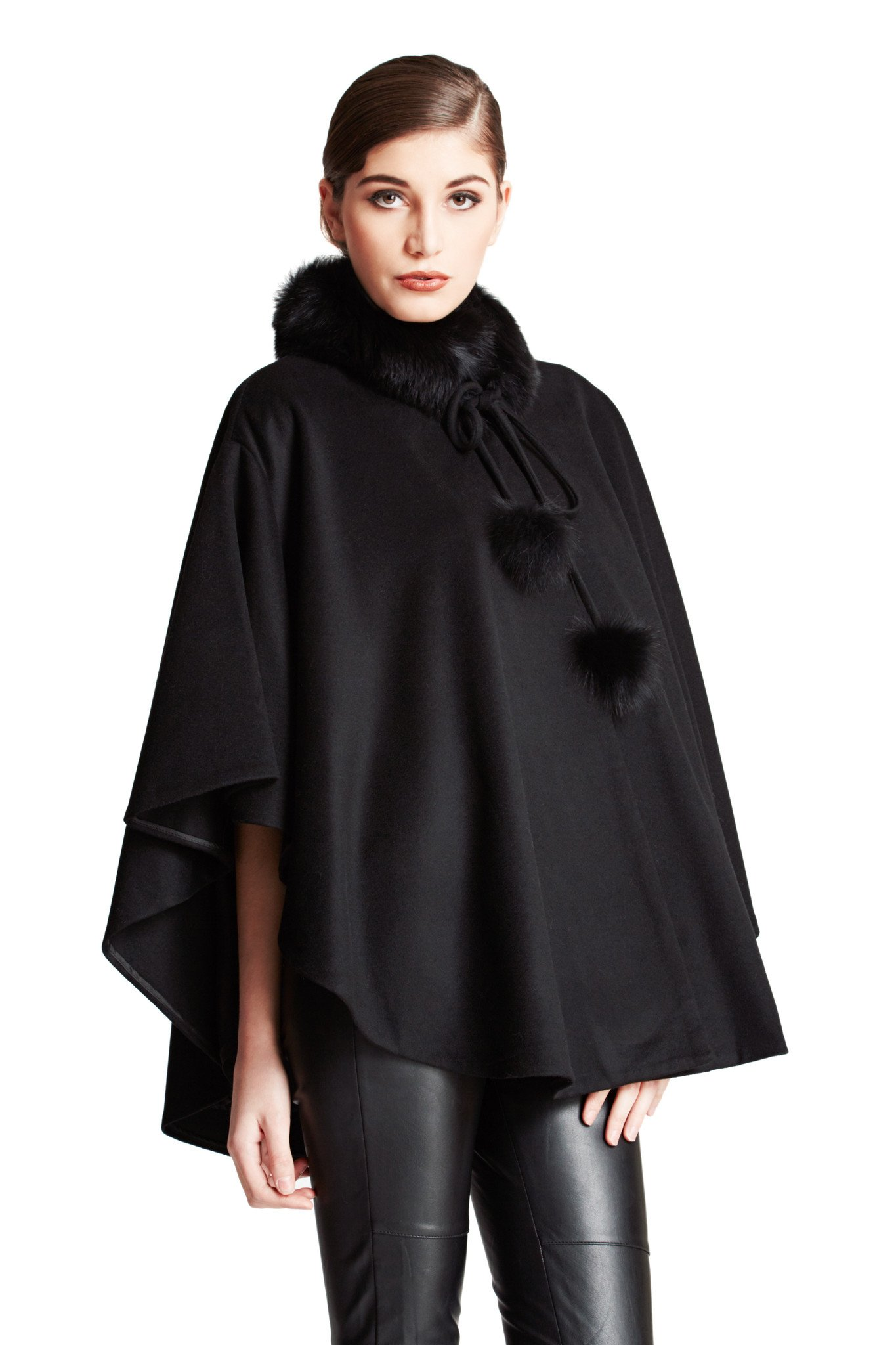 Cashmere Pashmina Group:Cashmere Cape w/genuine Fox Fur Collar & Fox pompom ties (Black) by Cashmere Pashmina Group
