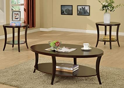 bb42d5cbbec Image Unavailable. Image not available for. Color  Rhonda 3-Pc Brown Wood Coffee  Table Set by Crown Mark