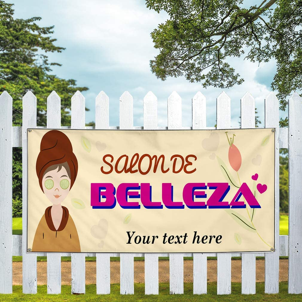 Custom Industrial Vinyl Banner Multiple Sizes Salonde Belleza Personalized Text Business Outdoor Weatherproof Yard Signs Pink 8 Grommets 44x110Inches