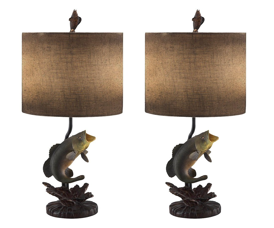 Metal & Resin Table Lamps Wave Jumper Bass Fish 2 Piece Table Lamp Set With Antiqued Burlap Shade 7 X 25.5 X 6.5 Inches Green Model # CVAVP413