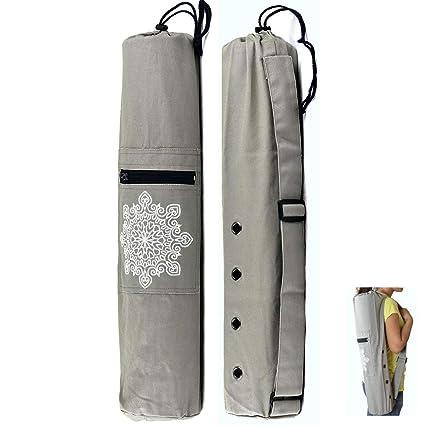 ECOOLBUY Tipos de artículos de Fitnesst de yoga, soporte de espalda de cintura Fitness, bolsa de tapetes de fitness de lona, bolsa de yoga, pelota de gimnasio de maní (Bolsa de yoga gris)