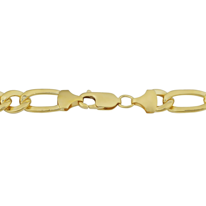 Fremada KGFFIG180-9 7.8mm, 9 inches Kooljewelry Mens 14k Yellow Gold Filled Solid High Polish Figaro Link Bracelet