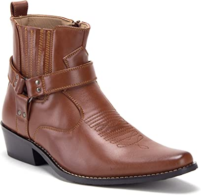 Mens Faux Leather Work Business Ankle Boots Shoes Pointy Toe Zip Carved Casual L