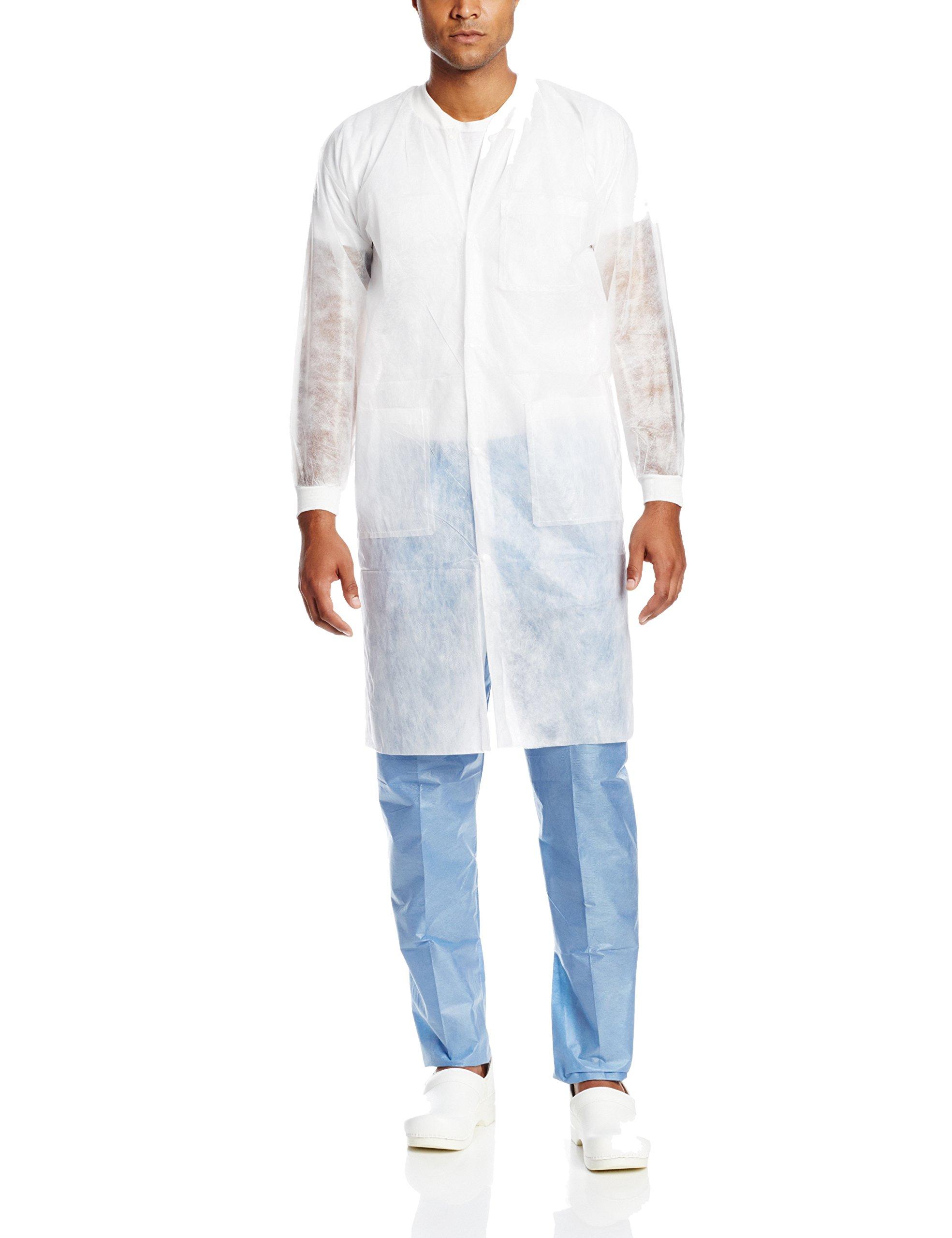 ValuMax 3290WHL Money-Saver, Disposable Isolation Knee Length Lab Coat, Splash Resistant, White, L, Pack of 10