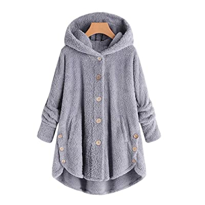 ALOVEMO Bottoming Fluffy Tail Tops,Fashion Women Button Coat Hooded Pullover Loose Sweater: Clothing