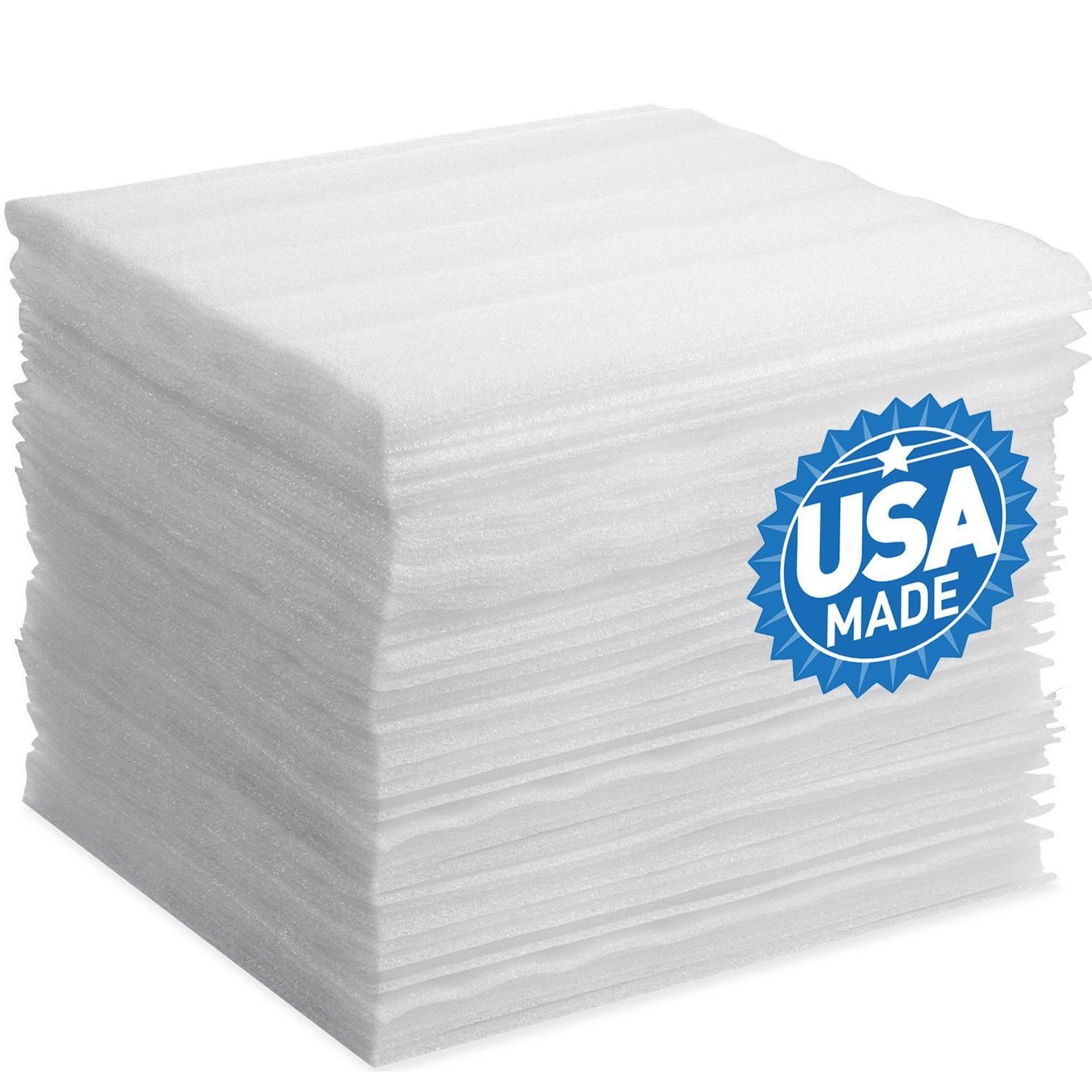 Foam Wraps, DAT 12'' x 12'' Foam Wrap Sheets Cushioning for Moving Storage Packing and Shipping Supplies, 50-Pack (White)