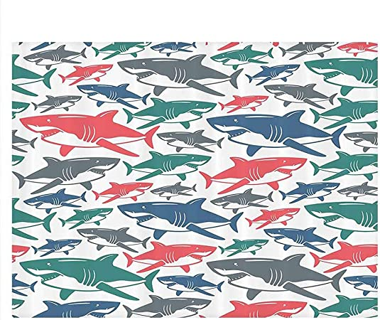Sea Animal Decor Aquarium Wallpaper Background Mix Of Colorful Bull Shark Family Pattern Masters Of Survival Kids Nursery Decals Poster Multi W30 X L12 Inch Pet Supplies