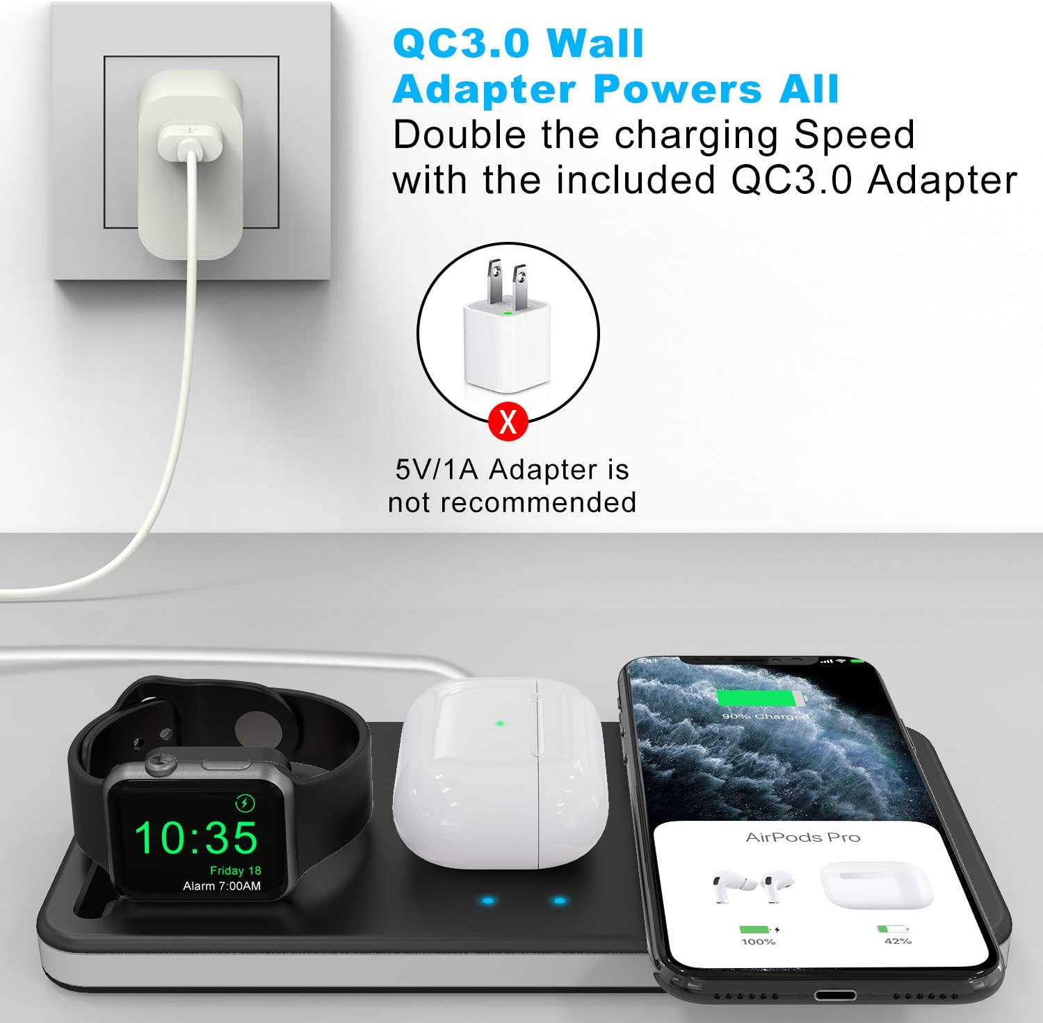 AirPods Pro Airpods and iPhone 12 12mini 12Pro 12 Pro Max SE 11 11 pro 11 Pro Max Xs X Max XR X 8 8P Adapter Included Rose Gold Yestan Wireless Charging Station Compatible with IWatch SE 6 5 4 3 2 1