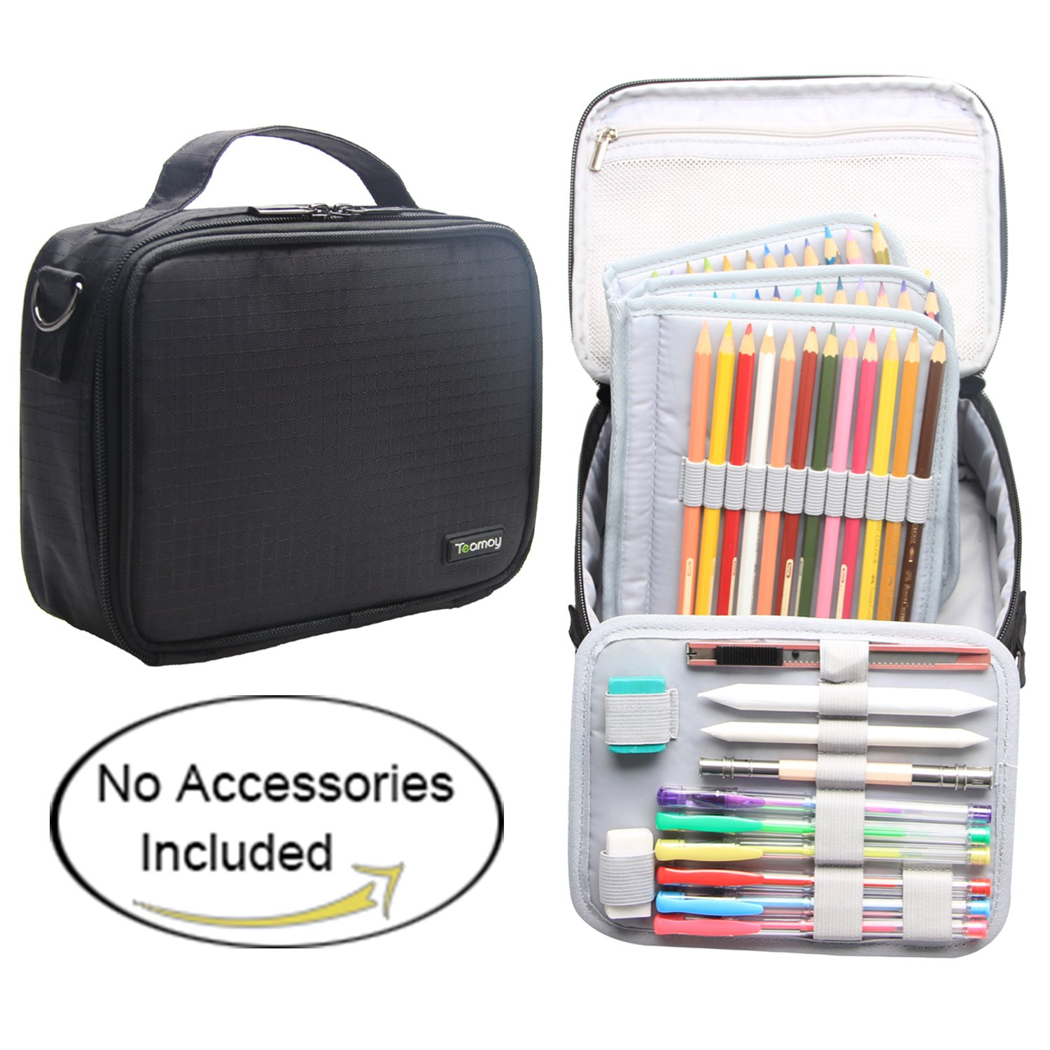 Teamoy Colored Pencils Case, Travel Gadget Bag with Handle and Shoulder Strap, Stylish and Multi-Purpose, Perfect Size for Travel or Daily Use-No Pencils Included, Black