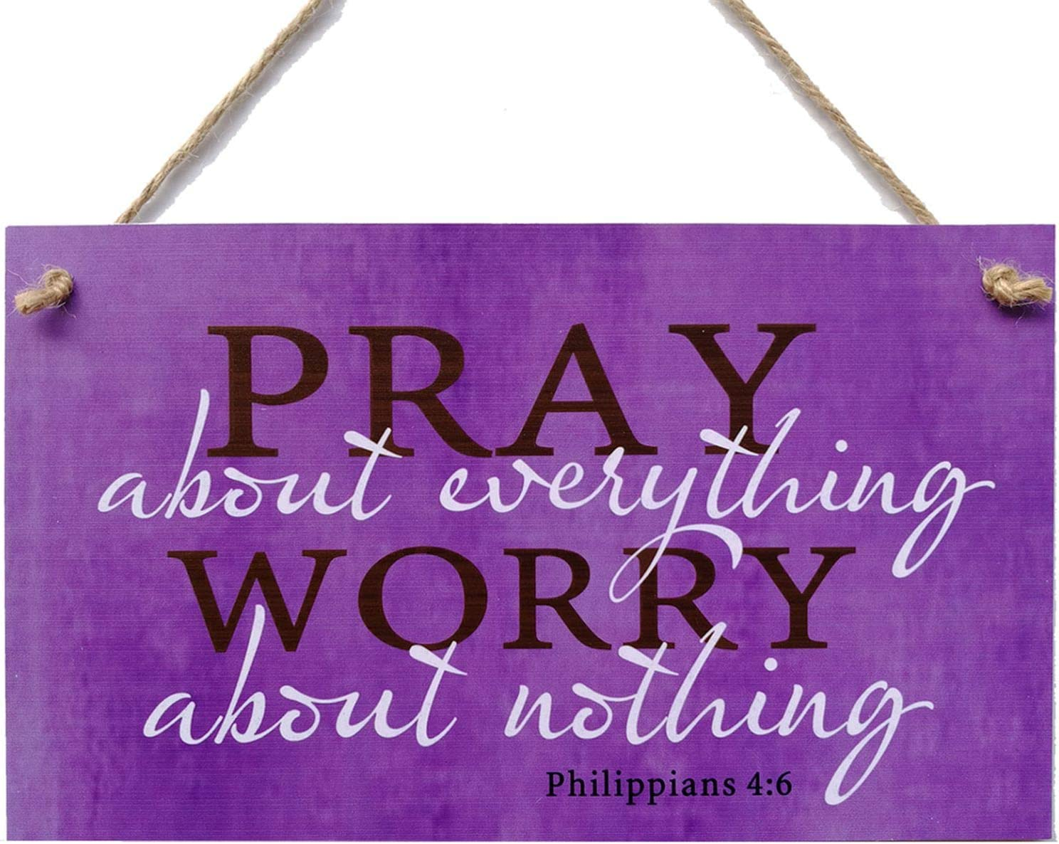 """Meijiafei Pray About Everything Worry About Nothing Faith Religious God Christian Prayer Gift Sign 6"""" x 10"""""""
