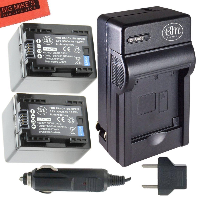BM Premium Fully Decoded 2-Pack of BP-727 Batteries and Battery Charger for Canon Vixia HF R70, HF R72, HF R700 HFM50, HFM52, HFM500, HFR30, HFR32, HFR300, HFR40, HFR42, HFR400, HFR50, HFR52, HFR500, HFR60, HFR62, HFR600 Camcorder BM-BP727K4-2
