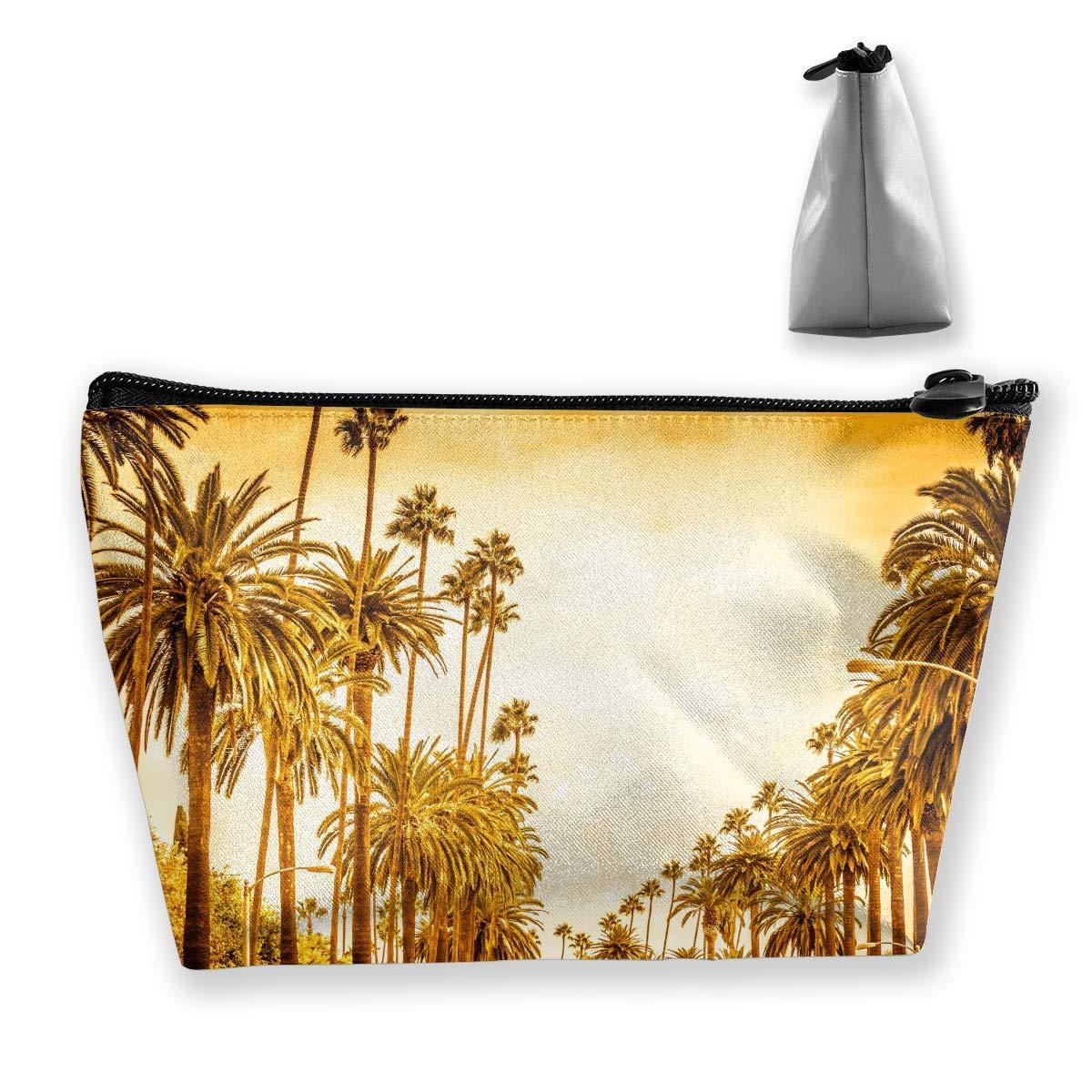 Palmera en Estilo Retro Los Angeles Street Bolsas de cosméticos Bolsas de cosméticos Estuche de lápices Bolso multifunción