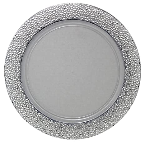 Posh Setting Clear Charger Plates Silver Hammered Design Medium Weight 13 inch Round  sc 1 st  Amazon.com & Amazon.com | Posh Setting Clear Charger Plates Silver Hammered ...