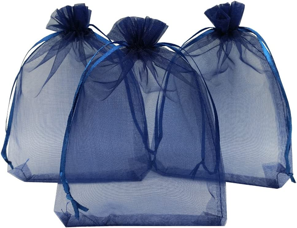 Ankirol 100pcs Sheer Organza Favor Bags 5x7'' for Wedding Bags Samples Display Drawstring Pouches (Navy Blue)