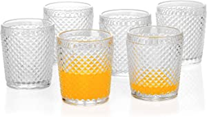 G Chroma Collection Tumbler Glasses set of 6, 9.5 oz Clear Premiun Drink-ware for Soda Juice Coke Beer Water Beverage Iced-tea, Double Old-fashioned Glass Perfect for Dinner Parties Bars Restaurants