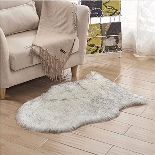 4×6 Feet Faux Sheepskin Rug Carpet Shaped Sheepskin Rugs-Excellent Quality Faux Fur Rug – Used As an Area Rug Or Across Your Armchair White with Grey