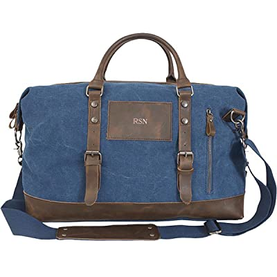 A Gift Personalized Personalized Blue Canvas and Leather Weekender Duffel  Bag - Rose Gold cb22490333859