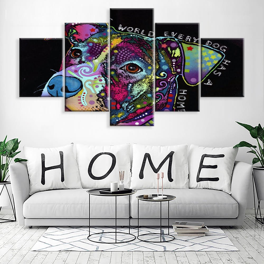[LARGE] Premium Quality Canvas Printed Wall Art Poster 5 Pieces / 5 Pannel Wall Decor Pitbull love Painting, Home Decor Pictures - With Wooden Frame by PEACOCK JEWELS (Image #2)