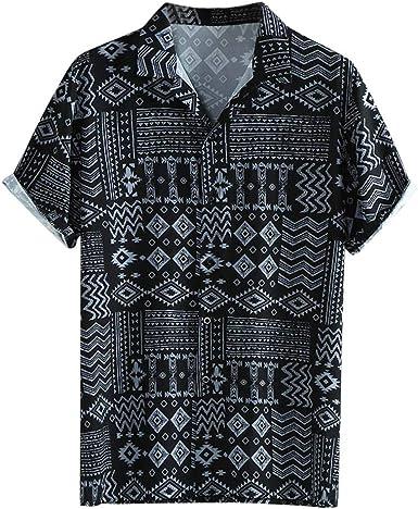 Skang Polos Manga Corta Hombre Camisa Hawaiana Señores Regular Cuello Mao con Botones Blusa Casual Vintage Retro: Amazon.es: Ropa y accesorios