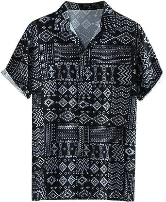 Skang Polos Manga Corta Hombre Camisa Hawaiana Señores Regular Cuello Mao con Botones Blusa Casual Vintage Retro