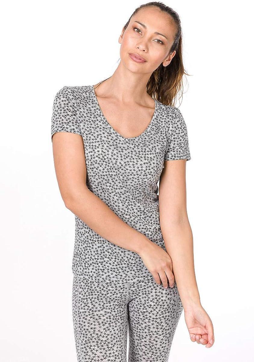 W BASE V-NECK TEE 140 PRINTED super.natural Bedrucktes Damen Kurzarm T-Shirt mit Sternmuster Mit Merinowolle