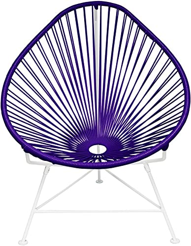 Innit Designs Acapulco Chair, Purple Weave on White Frame